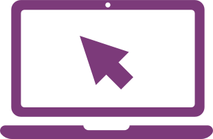 Purple laptop with a large cursor